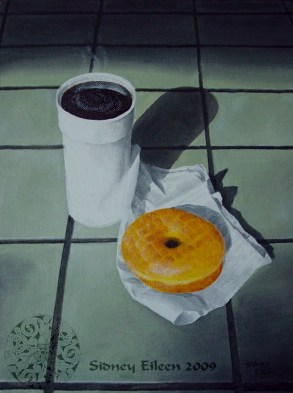 Title: Coffee and A Doughnut, Artist: Sidney Eileen, Medium: oils on canvas board