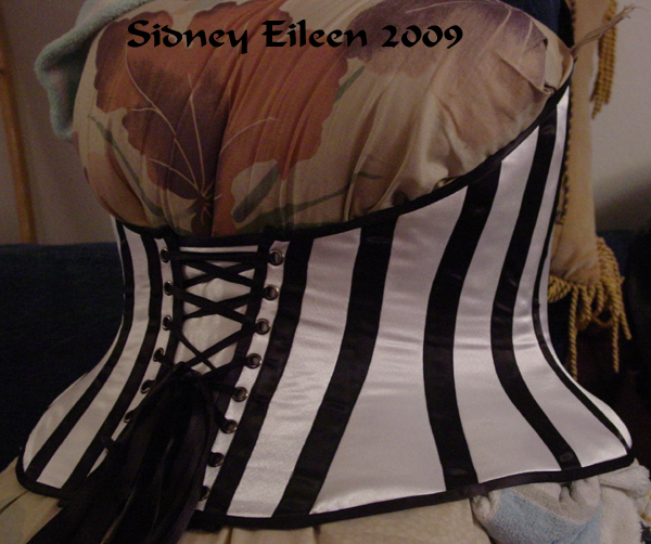 Low-Back Striped Merry Widow - Quarter Back View, by Sidney Eileen
