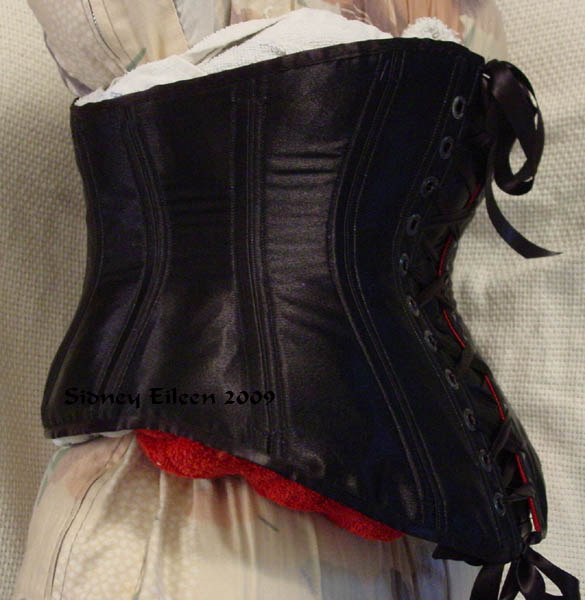 Reversible Waist Cincher - Black Side - Quarter Back View, by Sidney Eileen