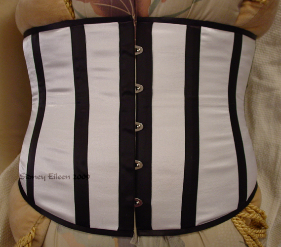 Plus-Sized White Satin Underbust with Black Boning - Front View