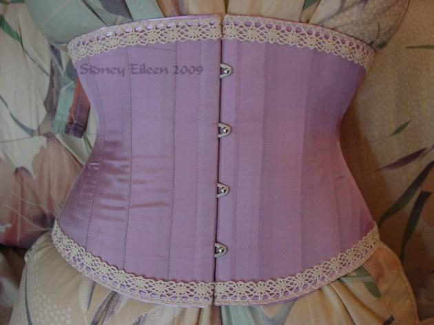Tight-Lacing Lavender Silk Waist Cincher, Seamstress: Sidney Eileen