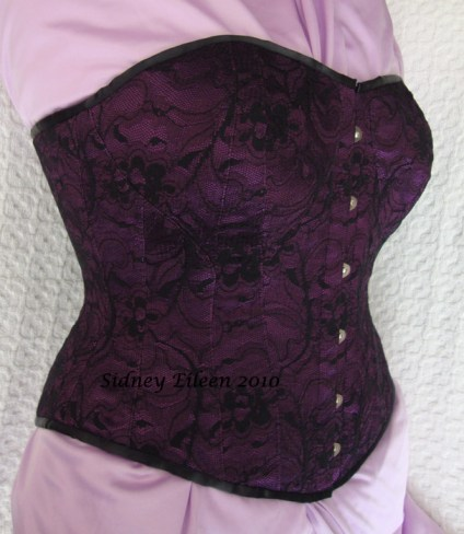 Purple and Black Lace Sweetheart - Quarter Front View, by Sidney Eileen