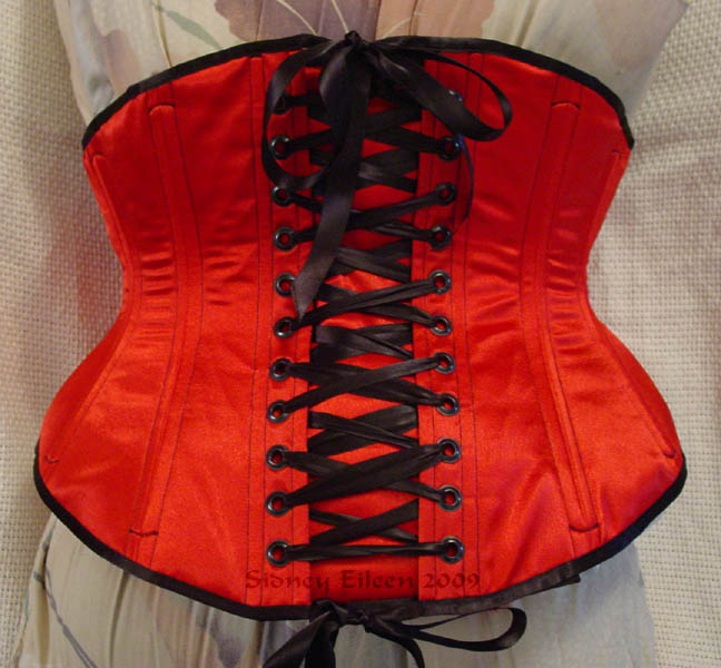 Reversible Waist Cincher - Red Side - Back View, by Sidney Eileen