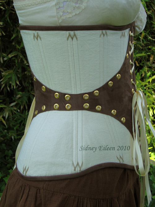 Leather and Coutil Grommeted Underbust - Side View, by Sidney Eileen