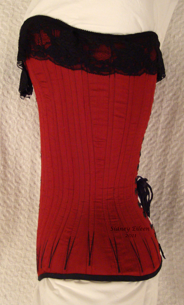 Red Silk Overbust with Black Flossing - Side View, by Sidney Eileen