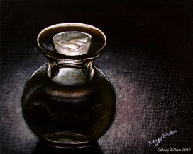 Title: Glass Vase and Candle, Artist: Sidney Eileen, Medium: oils on canvas board
