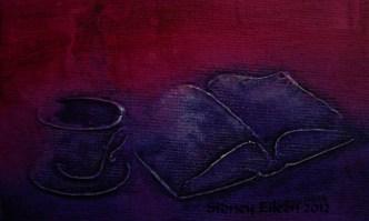 Title: Mauve Teatime Miniature Minimalist Painting, Artist: Sidney Eileen, Medium: impasto acrylic on canvas