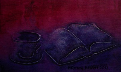Title: Mauve Teatime Miniature Minimalist Painting, Artist: Sidney Eileen, Medium: impasto acrylic on canvas