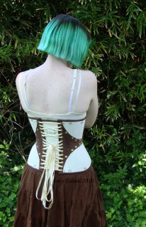 Leather and Coutil Grommeted Underbust - Back View, by Sidney Eileen
