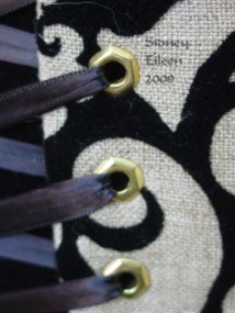 Linen and Velvet Merry Widow - Grommet Detail, by Sidney Eileen