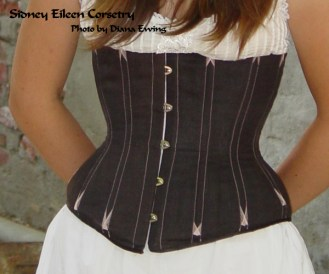 Black Linen Underbust with Pink Flossing by Sidney Eileen