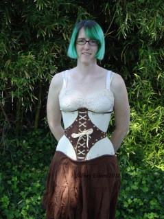 Leather and Coutil Grommeted Underbust - Front View, by Sidney Eileen