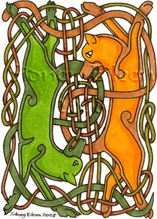 Title: Tail Chasers ACEO, Artist: Sidney Eileen, Medium: pen and marker on paper