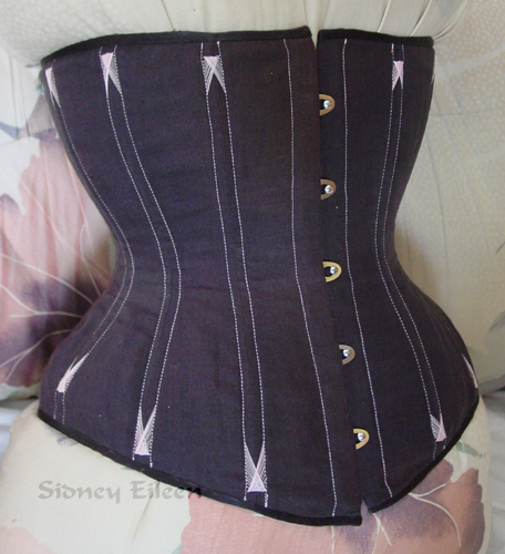 Black Linen Underbust with Pink Flossing