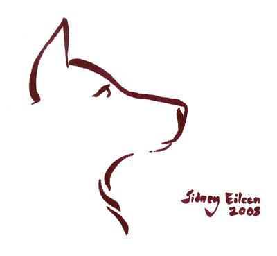 Title: Min. Wolf Face 2, Artist: Sidney Eileen, Medium: brush marker on paper