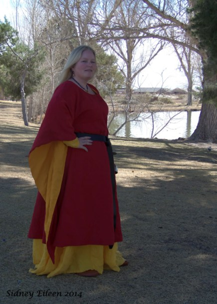 Garment: Red and Yellow Angel Sleeve Tunic Dress - Side, Seamstress: Sidney Eileen