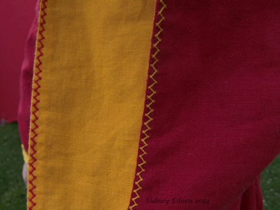 Red and Yellow Angel Sleeve Tunic Dress - Herringbone Stitch Detail