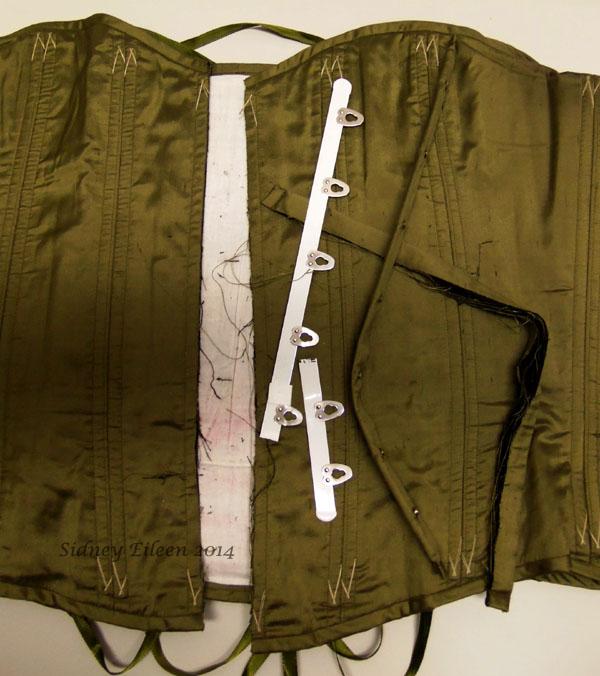 Drab Green Silk Overbust Corset - Broken Busk; Corset by Sidney Eileen