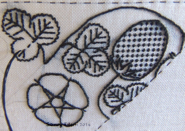 Blackwork Forehead Cloth - WIP3 - detail1 - Flat silk embroidery on linen fabric - by Sidney Eileen