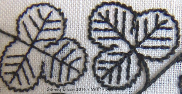 Blackwork Forehead Cloth - WIP4 - detail1 - Close up to show the detail of the difference between the two flat silks I used - by Sidney Eileen