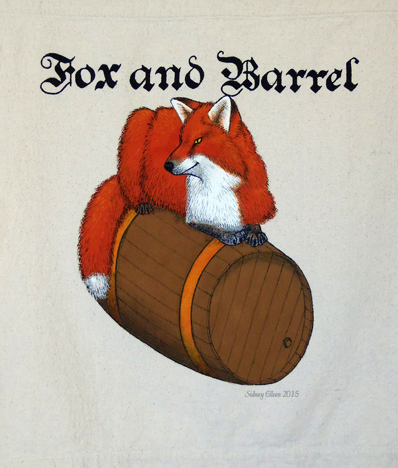 Fox and Barrel Sign Banner, by Sidney Eileen, acrylic paint on raw cotton canvas, for Talon Crescent Wars, SCA.