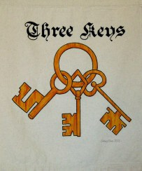 Three Keys Sign Banner, by Sidney Eileen, acrylic paint on raw cotton canvas, for Talon Crescent Wars, SCA.