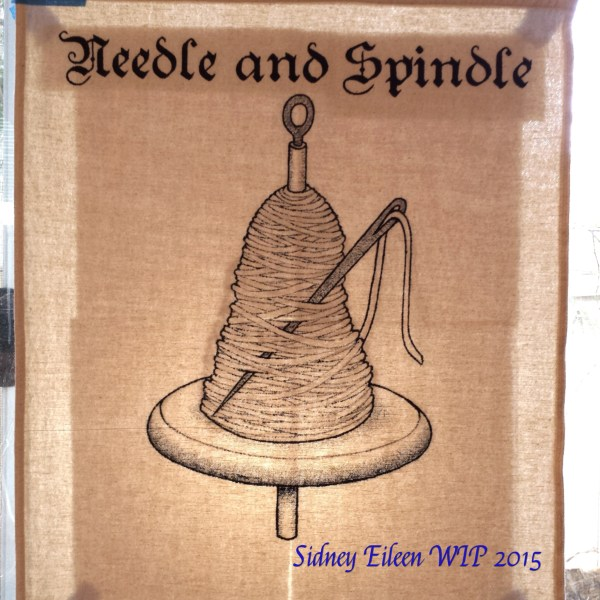 Needle and Spindle Sign Banner WIP, by Sidney Eileen, acrylic paint on raw cotton canvas, for Talon Crescent Wars, SCA.