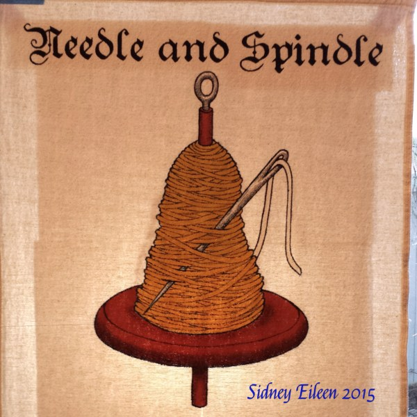 Needle and Spindle Sign Banner, by Sidney Eileen, acrylic paint on raw cotton canvas, for Talon Crescent Wars, SCA.