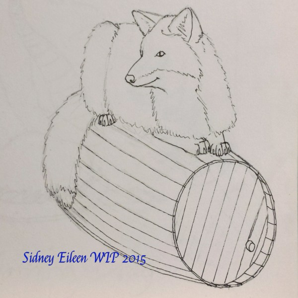 Fox and Barrel Sign Banner Concept Sketch, by Sidney Eileen, for Talon Crescent Wars, SCA.
