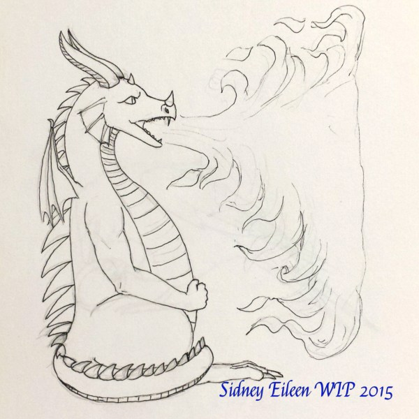 Flaming Dragon Concept Sketch, by Sidney Eileen, for Talon Crescent Wars, SCA.