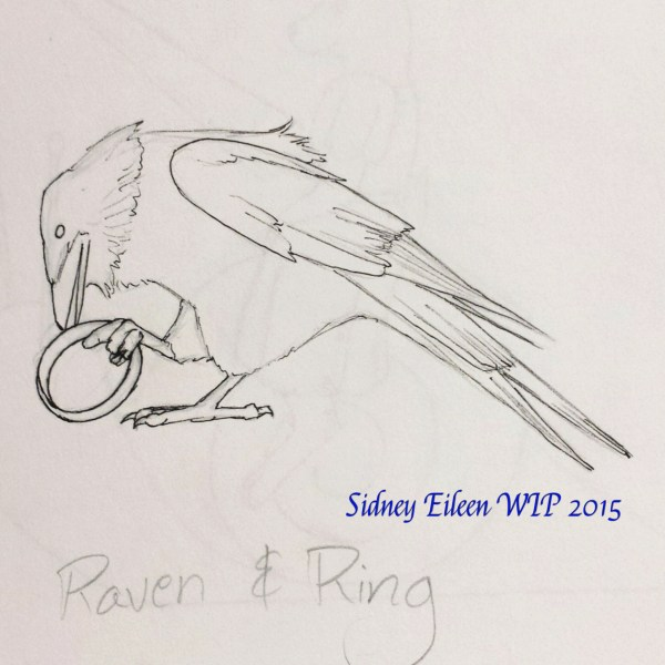 Raven and Ring Sign Banner Sketch, by Sidney Eileen, for Talon Crescent Wars, SCA.