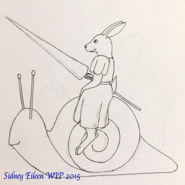 Jousting Rabbit Concept Sketch, by Sidney Eileen, for Talon Crescent Wars, SCA.