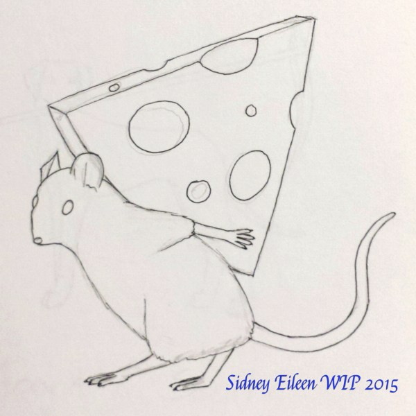 Mouse and Cheese Concept Sketch, by Sidney Eileen, for Talon Crescent Wars, SCA.