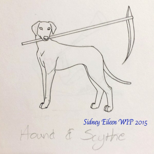 Hound and Scythe Concept Sketch, by Sidney Eileen, for Talon Crescent Wars, SCA.