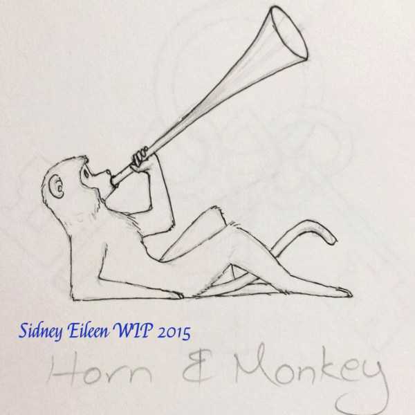 Horn and Monkey Concept Sketch, by Sidney Eileen, for Talon Crescent Wars, SCA.