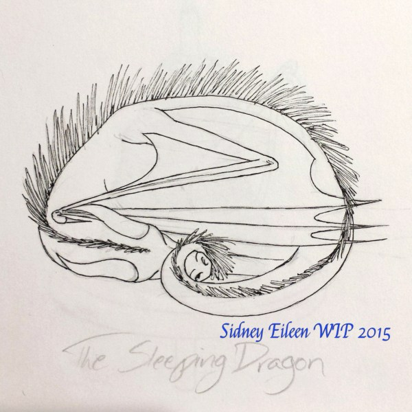 Sleeping Dragon Sign Banner Concept Sketch, by Sidney Eileen, for Talon Crescent Wars, SCA.