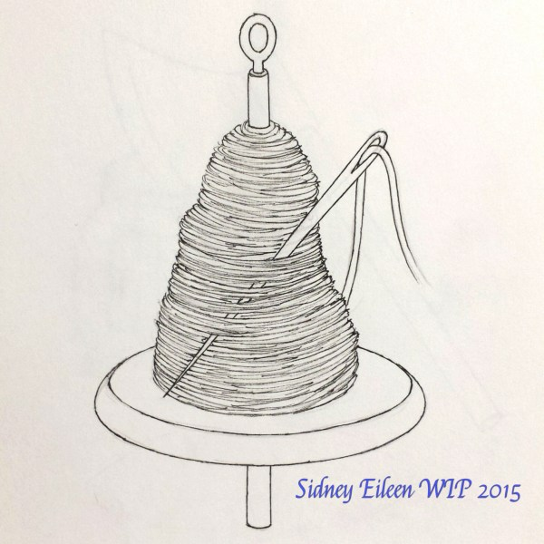 Needle and Spindle Concept Sketch, by Sidney Eileen, for Talon Crescent Wars, SCA.