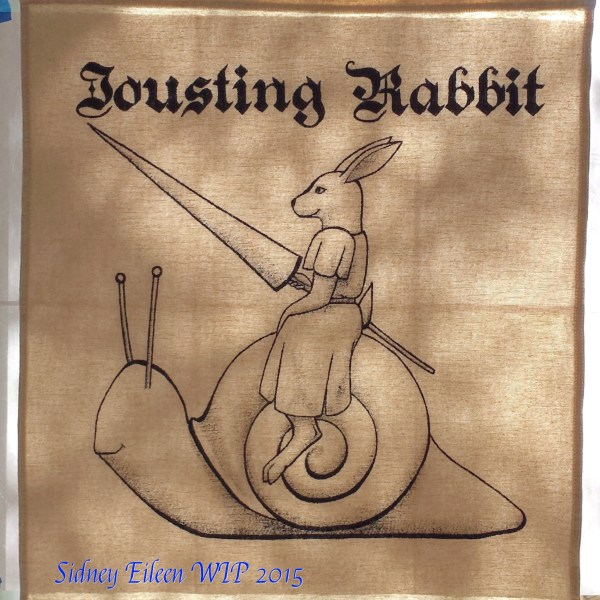 Jousting Rabbit Sign Banner WIP2, by Sidney Eileen, acrylic paint on raw cotton canvas, for Talon Crescent Wars, SCA.