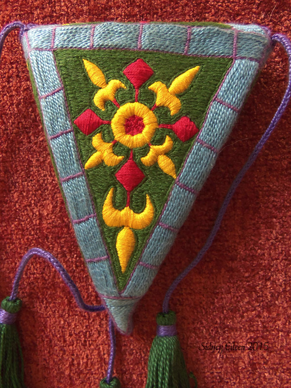 Embroidered Scissor Case - Back, by Sidney Eileen, cotton embroidery floss and perle cotton on cotton canvas.