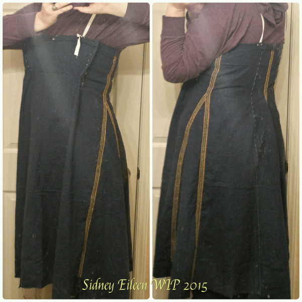 Dark Blue Linen Viking Apron Dress - WIP4, by Sidney Eileen, fitting the dress with darts