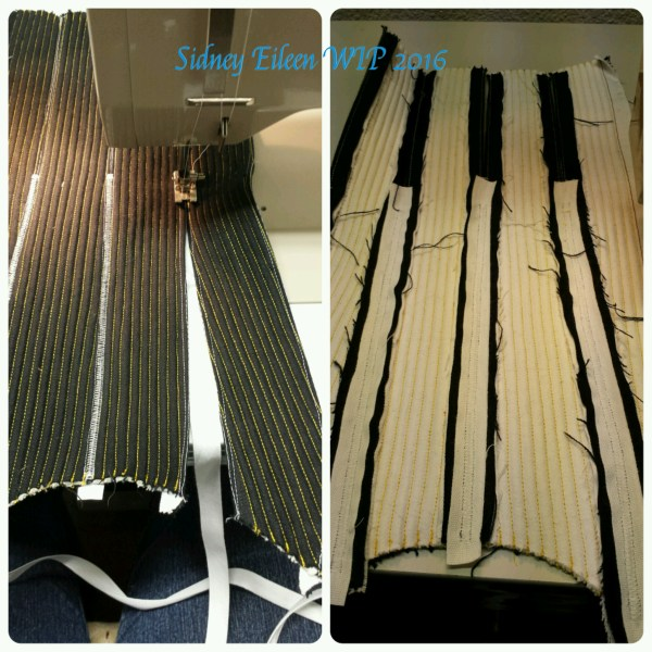 Corded Hybrid Corset - WIP7 - by Sidney Eileen. I zig-zag stitched the panels edge to edge, with cotton ribbon backing for reinforcement. I used contrast stitching so I could easily see what I was doing, and it will be covered later.