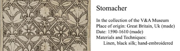 Blackwork Stomacher (1590) - detail of freehand blackwork embroidery - V&A Museum http://collections.vam.ac.uk/item/O319541/stomacher-unknown/
