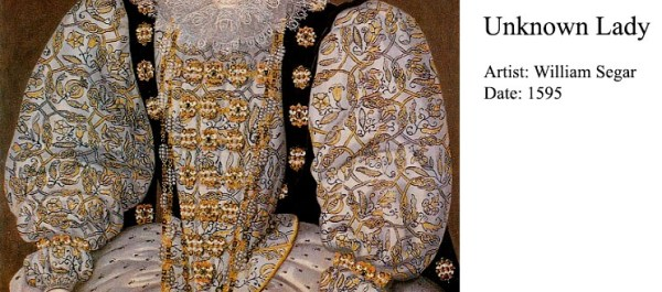 Unknown Lady by William Segar, c. 1595 - detail of freehand blackwork embroidery
