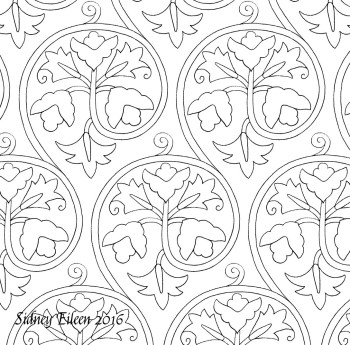 Freehand blackwork embroidery pattern, transcribed by Sidney Eileen, from an extant coif