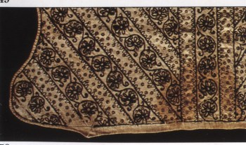 1610-1620 Blackwork coif with spangles, from the Glasgow Museums Collections. Silk blackwork embroidery on linen fabric.