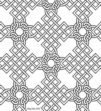 Freehand Blackwork Embroidery Pattern, transcribed by Sidney Eileen, from a Portrait of Mary Hill. In the portrait, the knotwork grids are completely consistent, but the manner in which they join is not, and no single visible join is clear and consistent within itself, so I created a join that was similar to a couple of them and created a consistent repeat pattern.