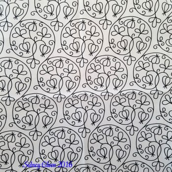 Swirly Elizabethan Floral Blackwork on Spoonflower Fabric, by Sidney Eileen