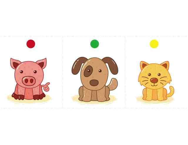 骰子動物圖卡 免費下載(小豬 小狗 小貓)
