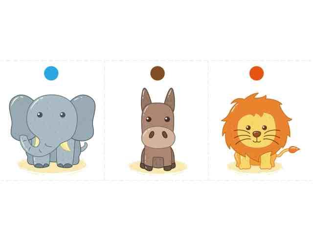 骰子動物圖卡 免費下載 (大象 驢子 獅子)