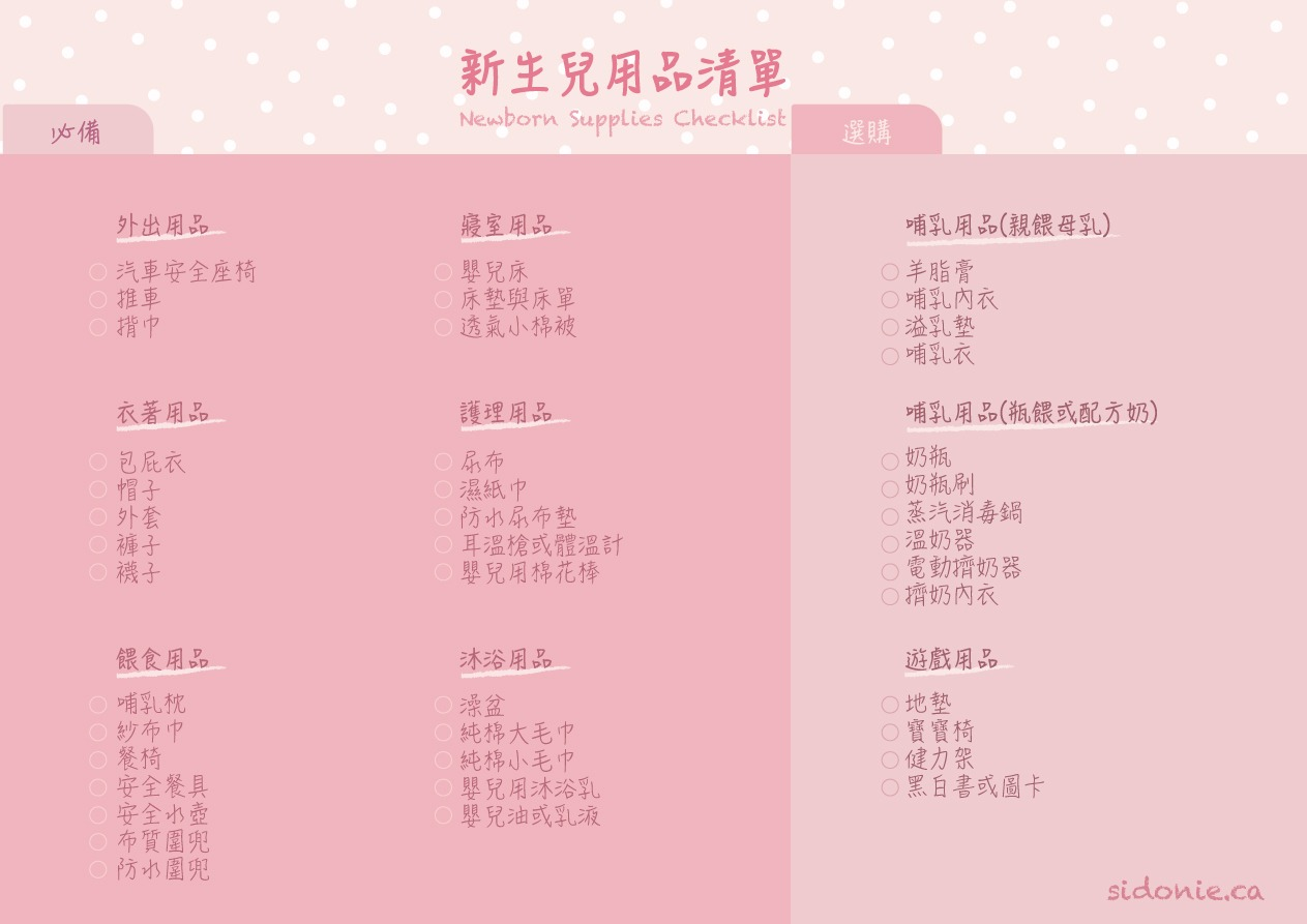 新生兒用品清單 Newborn-Supplies-Checklist